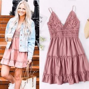 Tiered layer dress crochet pink bow